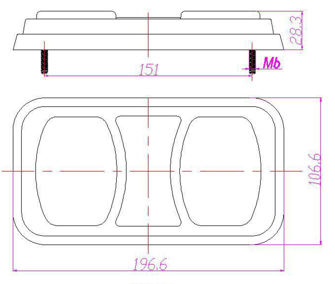 Line Drawing - BR80AR - Dimensions - 197 x 107 x 29mm