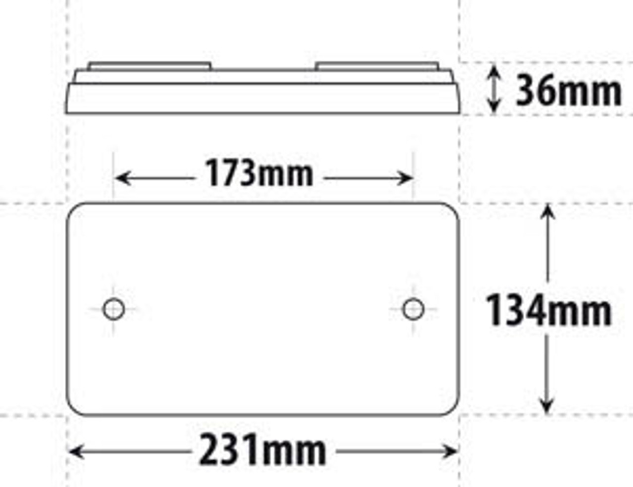 Line Drawing - Dimensions: 231 x 134 x 36mm
