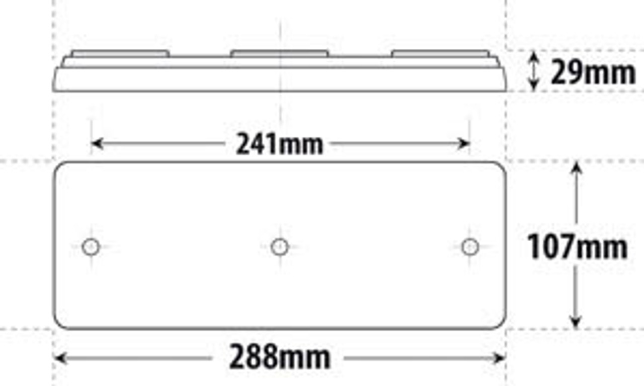 Line Drawing - BR80ARR - Dimensions: 288 x 107 x 29mm. Light Truck LED Tail Light Assembly Built in Reflector, Stop, Tail and Indicator.  Ultimate LED.