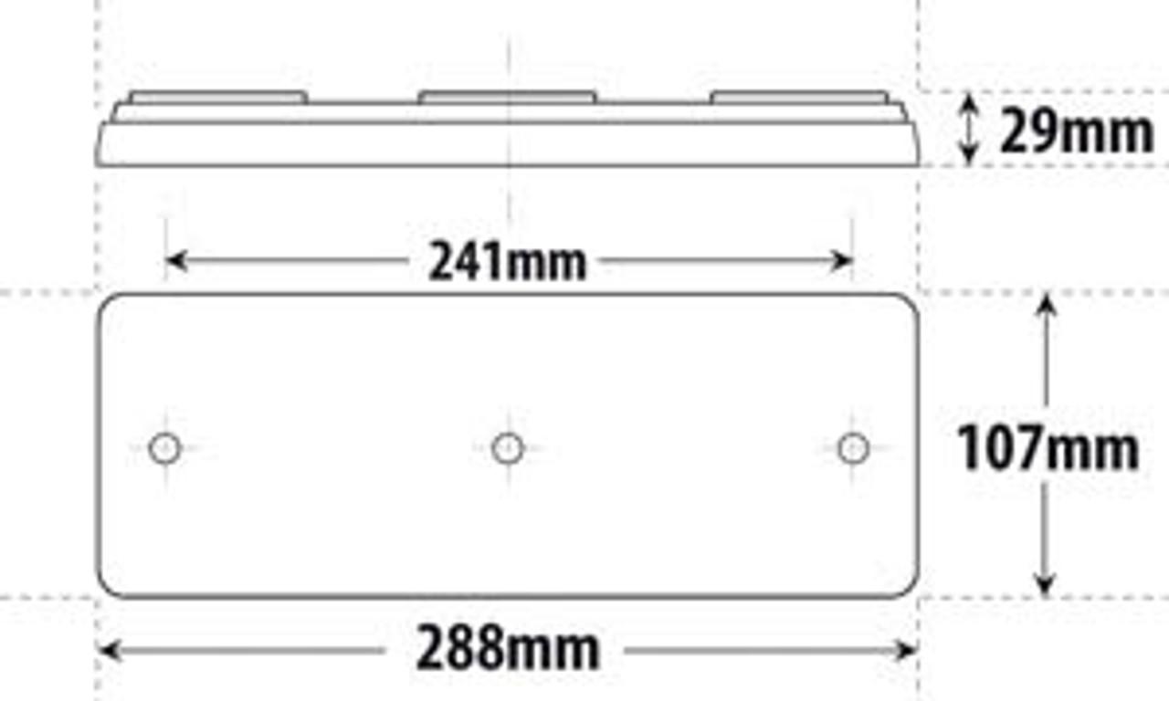 Line Drawing - BR80ARW - Dimensions - 288 x 107 x 29mm