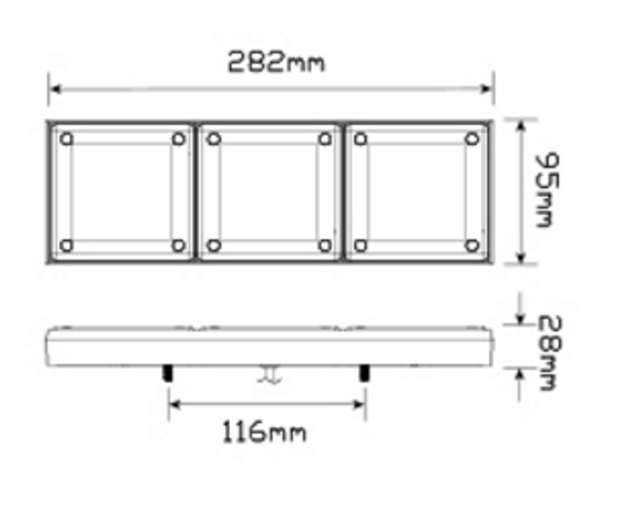 Line Drawing - 280ARRM Stop, Tail & Indicator Light. Single Light Pack Multi-Volt 12v & 24v. AL. Ultimate LED.