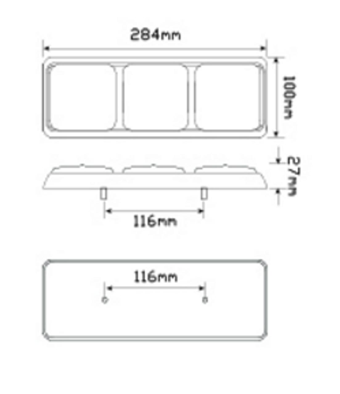 Line Drawing - 282ARWM - Combination Tail Light Triple Light. Stop, Tail, Indicator & Reverse Light. Multi-Volt 12v & 24v Blister Single Pack. LED Auto Lamps. Ultimate LED.