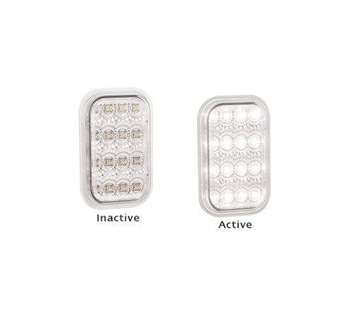 131WM Reverse Light Clear Lens and White LED Multi-Volt 12v & 24v Single Pack. AL. Ultimate LED.