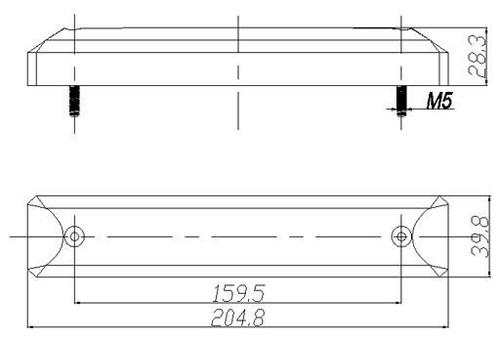Line Drawing. Dimensions: 205 x 40 x 28mm