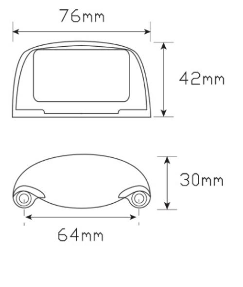 Line Drawing - 35BLM - Licence Plate Lamp Multi-Volt 12v & 24v Black Housing Low Profile Single Pack. AL. Ultimate LED.