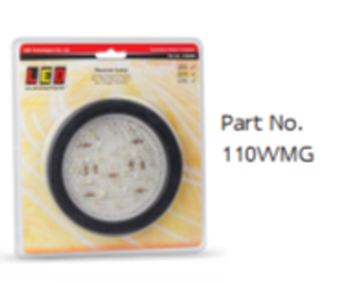 110WMG - Reverse Light Round with Black Grommet & Plug Included Multi-Volt 12v & 24v Single Pack. AL. Ultimate LED.