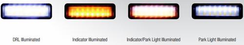 3 Functions. Daytime Running - White. Indicator - Amber. Park Light - White. Clear Lens