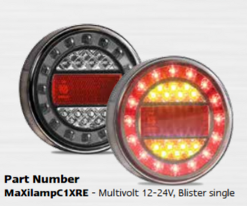 MAXILAMPC1XRE - Stop Tail Indicator with Rectangle Reflector Round light, Multi-volt Single Pack. AL. Ultimate LED.