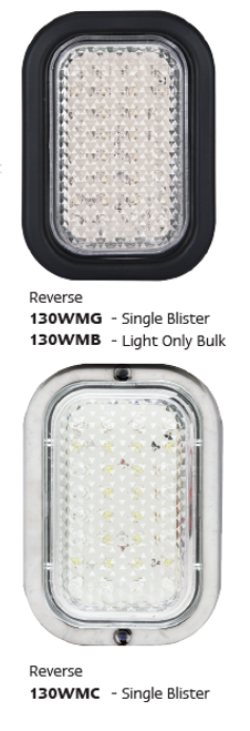 130WMG - Reverse Light Rectangle with Rubber Grommet & Plug Multi-Volt 12v & 24v Single Pack. AL. Ultimate LED.
