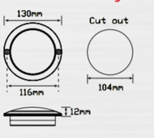 Line Drawing - 102RC - Stop Tail Round Light Clear Lens Multi-Volt 12v & 124v Single Pack. AL. Ultimate LED.