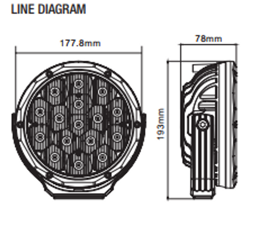 Dominator Slim Line Driving Light. 7 inch Line Drawing.