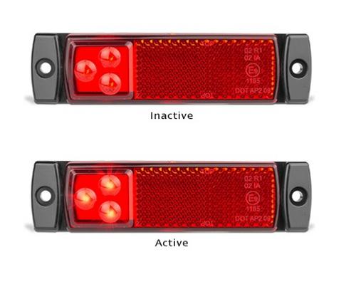 129RMB - Rear End Outline Marker with Reflector Low Profile Multi-Volt 12v & 24v Single Pack. AL. Ultimate LED.