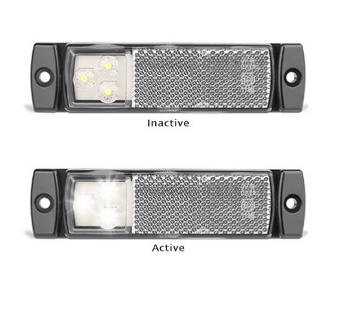 129WMB - Rear End Outline Marker with Reflector Low Profile Multi-Volt 12v & 24v Single Pack. AL. Ultimate LED.