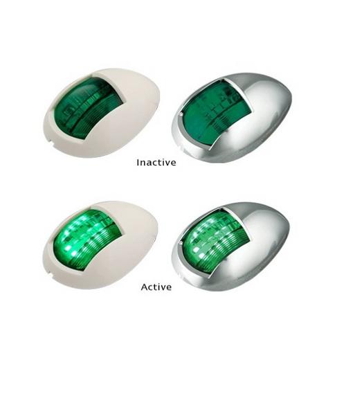 52CG - Navigational Lamps Green Single Pack Multi-Volt Chrome Housing. AL. Ultimate LED.