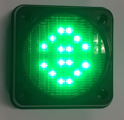 Traffic Control Light, Single Green - Activated with Mounting Housing. Great for Warehouse, Loading Docks, Warehouse Pedestrians, Sealed Doors, Roller Doors, Road Work Traffic Control.