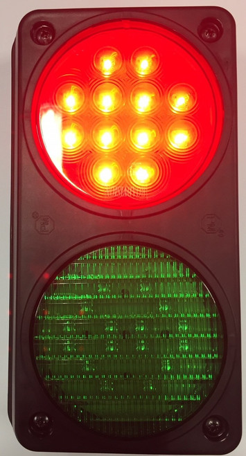 Traffic Control Light, Twin Red, Green. Red Activated  with Mounting Housing. Great for Warehouse, Loading Docks, Warehouse Pedestrians, Sealed Doors, Roller Doors, Road Work Traffic Control.