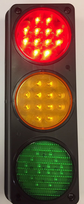 Traffic Control Light, Triple, Red, Amber & Green - Red Activated with Mounting Housing. Great for Warehouse, Loading Docks, Warehouse Pedestrians, Sealed Doors, Roller Doors, Road Work Traffic Control.