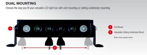 Dual Mount Options. Side or Under Body. 22-inch Light Bar Single Row. 100 watts. 10 x 10-watt LED's. Combination Beam. Dual Mounting System. 7 Year Warranty. RBL322C