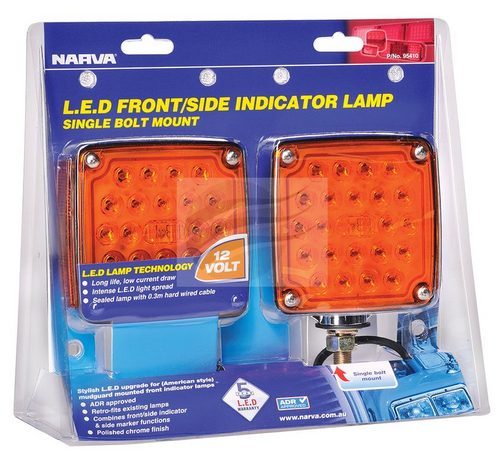 95410 - Narva Model 54 LED Front Direction and Supplementary Side Direction Indicator Lamp Kit. 12V Twin Pack. Narva. CD. Ultimate LED.
