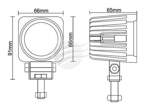 Line Drawing - WL0810 - Square LED Flood Beam Worklight. Multi-volt. Single Pack. Jaylec. CD. Ultimate LED.