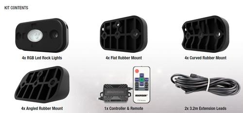 RRGB4RLK - LED Rock Light Kit. Multi-volt. RoadVision. Ultimate LED.