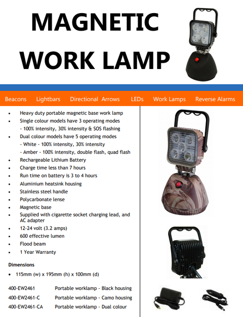 Portable Flood Light, Battery Operated, Magnetic Mount, Rechargeable, LED Work Light, 15 watt. Complete Package. Black Colour Housing. White & Amber Emergency LED's. Great Camping Light. EW2461-CA-AU.
