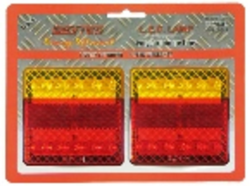 BR208LRMV - Box Trailer LED Tail Light Kit. Stop, Tail, Indicator with Reflector. 12v & 24 Volt DC System. 100mm Square. Twin Pack. ADR Approved. RoadVision. Ultimate LED.