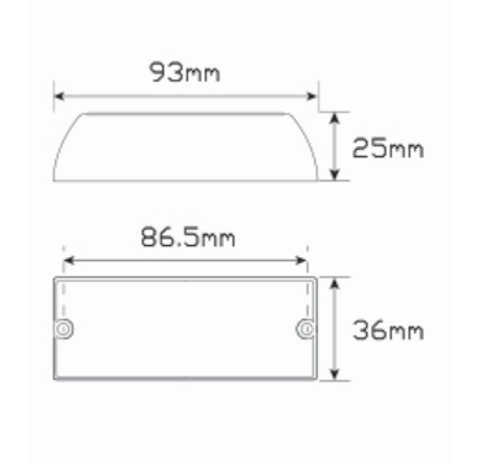 Line Drawing - 93AM - Emergency Lamp Clear Lens Amber Multi-Volt Single Pack. AL. Ultimate LED.