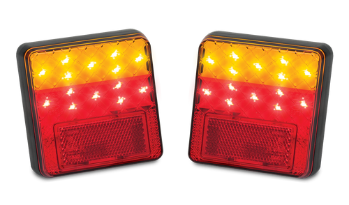 100BAR2 - Combination Tail Light. Small Trailer Rear Light. Stop, Tail, Indicator, Reflector Light 12v Blister Twin Pack. LED Auto Lamps.  Ultimate LED.