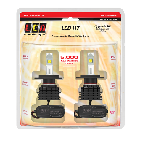 H7-5000LM - LED Upgrade Headlight Kit. Single Beam. High Brightness LEDs. Heavy Duty Design. Multi-Volt 12v & 24v. LED H7. Rubber Weather Seal For Added Protection. 2 Year Warranty. Autolamps. Ultimate LED.