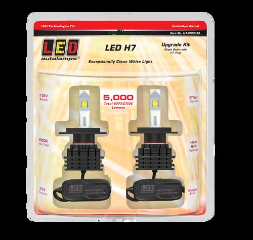 H7-5000LM - LED Upgrade Headlight Kit. Single Beam. High Brightness LEDs. Heavy Duty Design. Multi-Volt 12v & 24v. LED H7. Rubber Weather Seal For Added Protection. 2 Year Warranty. Autolamps. Ultimate LED.