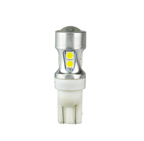 T10W - Wedge Globe, LED Replacement. White Light Output. Multi-Volt 12v & 24v. 3 x Brighter Then Standard Halogen. Over Voltage Protection. Reverse Polarity. 5 Year Warranty. Autolamp. Ultimate LED.