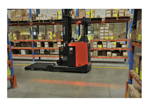 A. Red Danger Zone Area Warning Light System. Narva  Warehouse Pedestrian Workplace Forklift Safety Halo System. Compact Light. Red Line Beam. NARVA 72704N