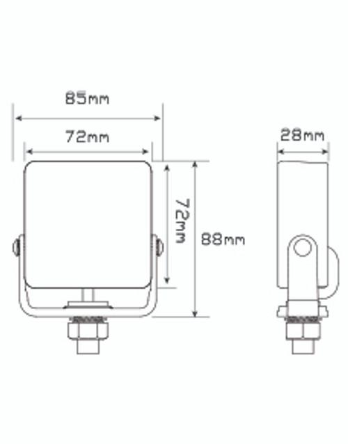 Line Drawing - 94BM - Coloured Strobe Lamp. Blue Emergency Strobe Lamp. 18 Selectable Flash Patterns. Adjustable Steel Bracket. 5 Year Warranty. Multi-Volt 12v & 24v. Clear Lens When Inactive. Autolamps. Ultimate LED.