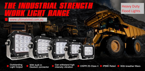 UFL Series Heavy Duty LED Flood Work Lights EMC/EMI Rated Class 4 Marine and Mine Grade