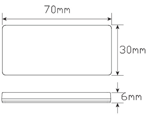 Line Drawing - 7030AB - Amber Reflex Reflector. Box of 100. 3m Tape Mount. Premium Quality. Low Profile Design. ADR Approved. Autolamp. Ultimate LED.
