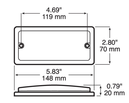 M368 - Interior, Exterior LED Rectangle Light. 12v Only. Surface Mount. Weatherproof. Peterson. RV. Ultimate LED.