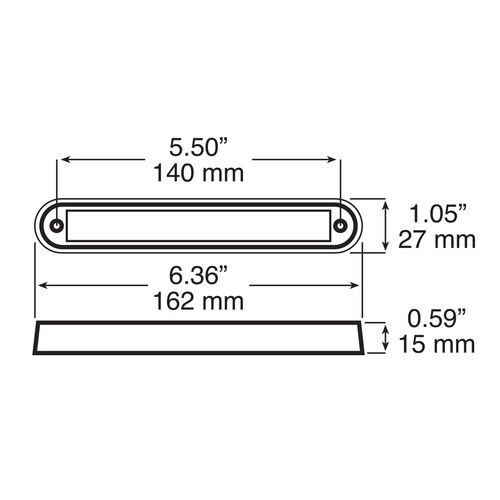 Line Drawing - 388C - Interior, Exterior Dress-Up LED Light. White Light. Multi-Volt. Strip Light. Surface or Recess Mount. Peterson. RV. Ultimate LED.