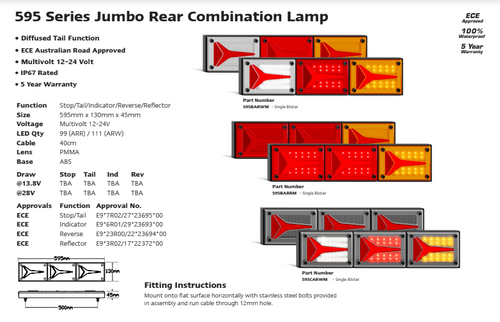 Data Sheet - 595BARWM - Combination Tail Light. Large Tray & Truck Series Light. Diffused Tail Function. Coloured Lens. Stop, Tail, Indicator and Reverse Lights. Caravan Friendly. Single Pack. Multi-Volt 12v & 24v. Autolamp. Ultimate LED.