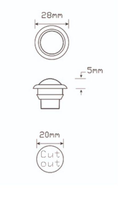 Clearance Light LED White. Button Size White Marker Light in LED. BR11 Series. 10-30V. Flush Rubber Mount. Small Round Light. RoadVision. BR11W.