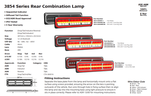 Data Sheet - 38541ARWM-2 - Combination Tail Light. Medium Tray & Truck Series Light. Diffused Tail Function. Sequential Indicator. Clear Lens. Stop, Tail, Indicator and Reverse Lights. Twin Pack. Multi-Volt 12v & 24v. Autolamp.  Ultimate LED.
