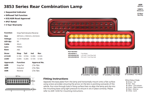 3853ARWM -2-LR - Combination Tail Lamp. 3852 Series. Diffused Tail Light. ECE Approved. Multi-Volt 12-24v. 5 Year Warranty. Twin Pack. Left Hand Side and Right Hand Side Plus Load Resistor. Autolamp. Ultimate LED.