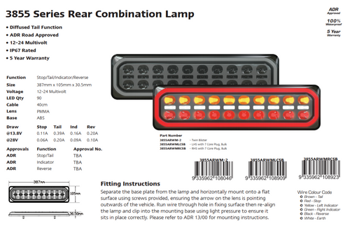 3855ARWM -2-LR - Combination Tail Lamp. 3852 Series. Diffused Tail Light. ECE Approved. Multi-Volt 12-24v. 5 Year Warranty. Twin Pack. Left Hand Side and Right Hand Side Plus Load Resistor. Autolamp. Ultimate LED.