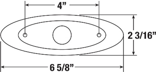 B178-10 Chrome Base, Dimensions; 169 x 56 x 15mm