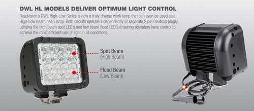 DWL16PHL - High Low Beam for Machinery. DWL16PHL. Water Rating: IP68. Submersible to 3 Metres. Roadvision. Ultimate LED.