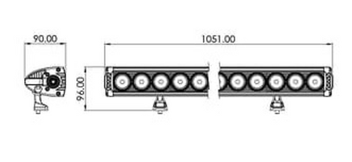 Line Drawing - BBL6240C - Combination LED Driving Light Bar 40 Inch 240 Watt Multi-Volt. RoadVision. Ultimate LED.