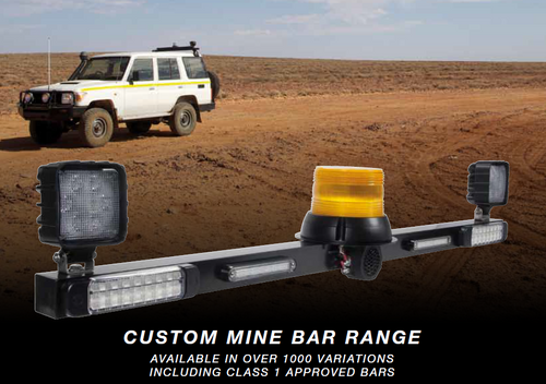 142RV18. UMB1221C-B Ultimate LED Mine Safety Light Bar. Stop, Tail, Indicator, Reverse with a Safety Amber Beacon and Reverse Back Up Alarm. Multi-Volt UMB1221C-B1