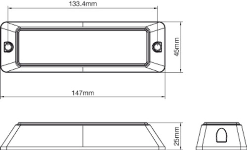 Line Drawing Amber LED Strobe Emergency Module. Amber. LE4PA. 147 x 45 x 25mm. Super Bright.