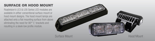 Surface mount and Hood Mount Emergency Strobe Light. LE3S & LE3SH Series