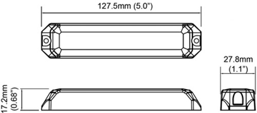 Line Drawing - LE6SA - Amber Strobe Light LE6S Series. Surface Mount. A Tough and Bright Unit. Our Top Selling Larger Strobe Module – LE6 Series. Our customers feedback is – Assume Bright Strobe Lights. Roadvision. Ultimate LED.
